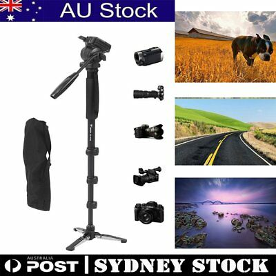 WF Camera Monopod Tripod Unipod Fluid Head Holder Travel DSLR Camcorder Video