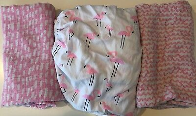 Oh Joy Baby Muslin Swaddle Blankets Lot of 2 w/ Flamingo Fitted Crib Sheet Pink