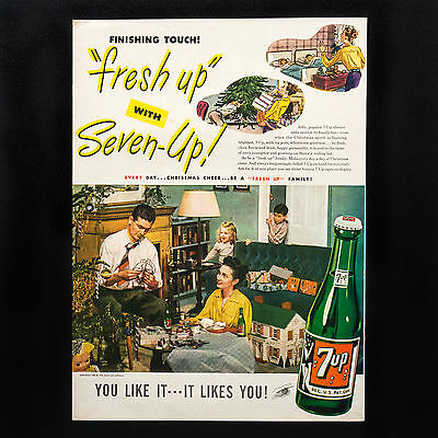 1946 SEVEN-UP Family at Home for Christmas vintage print ad large magazine