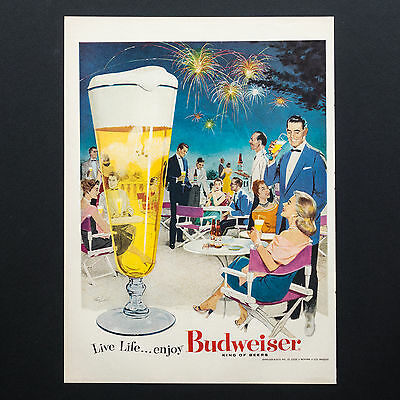 1956 BUDWEISER BEER PARTY with Fireworks vintage print ad large magazine