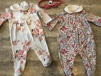 Janie & Jack + Baby Gap Girls Footed Sleepers Bodysuit Lot + Bow - Newborn NB