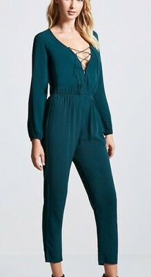 Forever 21 Plunging Lace Up Long Sleeve Deep V Jumpsuit One Piece