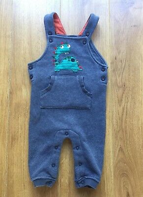 Preowned Baby Boy Navy Dinosaur Dungarees 6 - 9 Month by TU, TWINS, FREE P&P