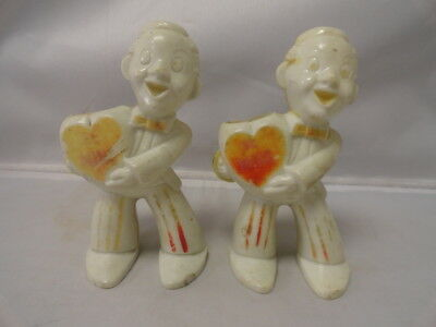 1950s Valentine Hard Plastic Be Mine Men Holding Hearts Candy Container Holder