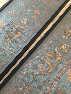 Pair Of Mirror Image Chinese Silk Embroidery Panels, Hand Embroiled Stitched.