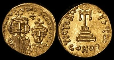 ANCIENT BYZANTINE : Constans II with Constantine IV 641-668AD Gold Solidus S-959
