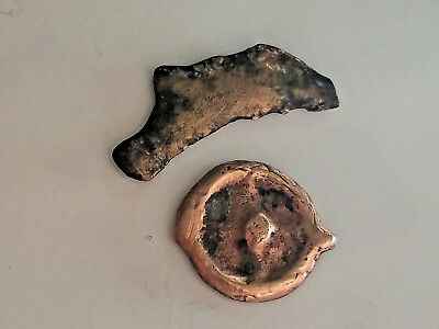 Ancient Greek proto-money! ISTROS Thrace 500BC WHEEL and DOLPHIN Coins Lot of 2!