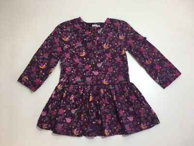 Girls 18-24 Mini Club Purple Bird Dress 100% Cotton - Excellent Condition