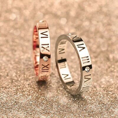 Men Women Roman Numerals Rhinestone Titanium Stainless Steel Band Ring 4mm Width