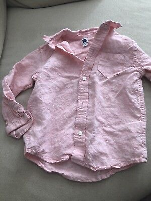 Janie And Jack Boys Linen Button Down SiZe 3T Pink