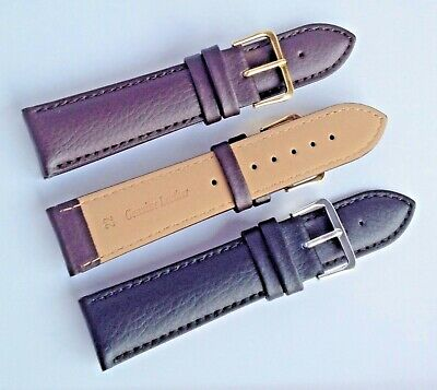 Mens Ladies Black Brown HIGH QUALITY GENUINE PADDED LEATHER Watch Strap Band A+