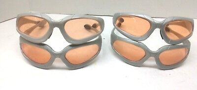 Used Nerf Eye Safety Glasses Goggles Lot of 4 Gray Frame Orange Lens UVA UVB