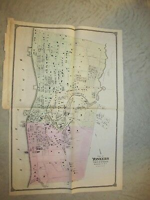 Vintage Map of Yonkers New York From Beers 1867 Atlas,  NOT A REPRINT