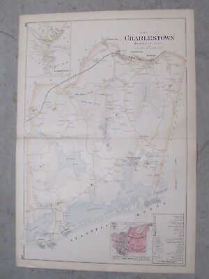 1895 Map,  Charlestown, Rhode Island, Map In Good Condition. 32X22 Inches