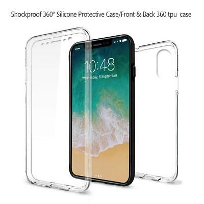For iPhone X 360 Silicone Case Cover Gel Clear Shockproof Hybrid Full Protector