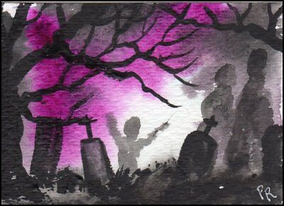 ACEO Watercolor - Halloween in Summer, Graveyard, Ghosts - Patricia Ann Rizzo