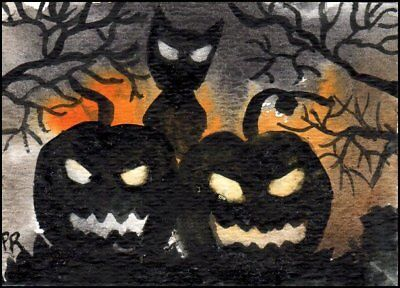 ACEO Watercolor - Halloween in Summer, Cats, Pumpkins - Patricia Ann Rizzo