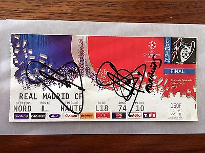 Ticket Final Champions League 1999-00 Real Madrid Valencia Signed Raúl Morientes