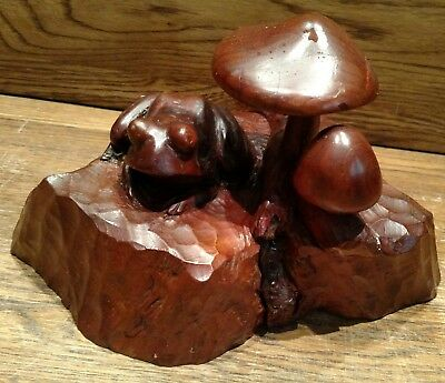 Carved Wooden Sculpture Of Frog Among The Mushrooms Unsigned