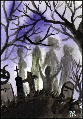 ACEO Watercolor - Halloween in Summer, Cemetery, Ghosts - Patricia Ann Rizzo