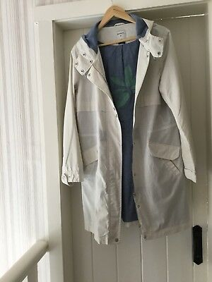 SANDWICH 3/4 Length Hooded Raincoat Ivory & Denim Lining Size 14 (42) Perfect
