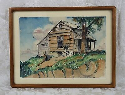 Vintage Mid Century Painting of Country Landscape Cabin Shack Signed