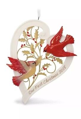 Hallmark 2018 Our First Christmas Together Heart Cardinals Ornament