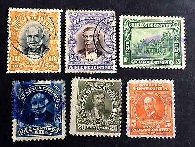 6 top old used stamps Costa Rica 1900-1929