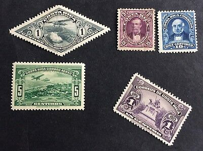 4 nice old unused stamps Costa Rica