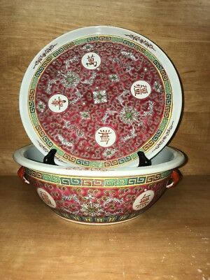 Asian Style Red Chinese Large Serving Bowl no Lid and Flat Plate