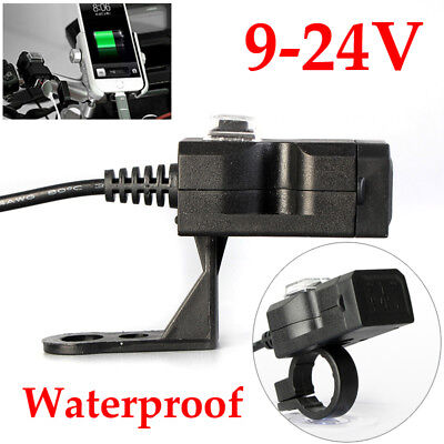 Waterproof Dual USB 12V Motorcycle Handlebar Intelligent Charger Socket w/Switch