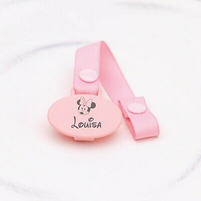 Personalised Dummy Clip, Pacifier Clip, Soother Clip *engraved* Minnie Mouse