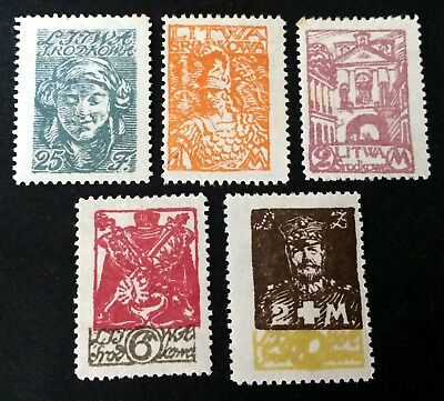 Central Lithuania - 5 nice unused stamps 1920 - Srodkowa Litwa