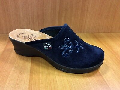 Fly Flot 96N86 Pe Blu Ciabatte Donna Made In Italy Sottopiede Vera Pelle