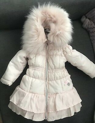 Le chic Designer Baby Girl Pink Ruffle Bubble Coat 6-9 Months