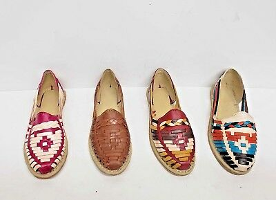 53f78199cec3 Huaraches Sandals Women Handmade Mexican Multicolor Cowhide Flat Slip-On  Closed