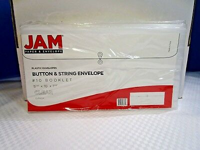 JAM PAPER Clear Plastic Envelopes with Button & String Tie Closure