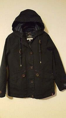 Joules Coast Waterproof Rain Coat Jacket Navy Size 8 Hooded Breathable Nice Cond