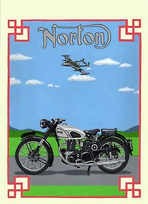 1951 Norton Dominator (original hand painting) Framed