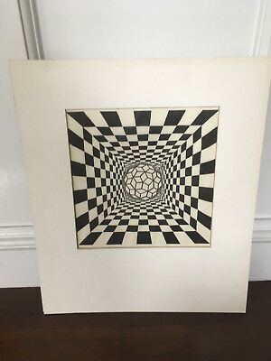 Vtg Mid Century Modern Abstract Black & White Print LITHOGRAPH - Signed Dated