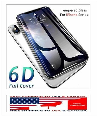 9h 6d full curved cover tempered glass front+back for iphone x/8 plus/7 plus/8/7