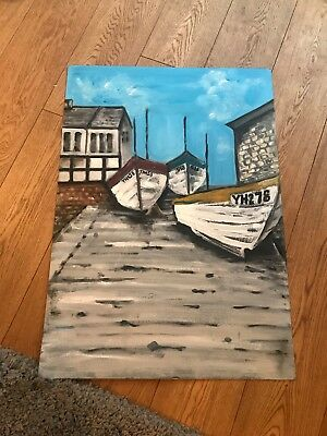 Artwork. Original. Oil Painting Of Boats At Sheringham Norfolk By Liz Wade