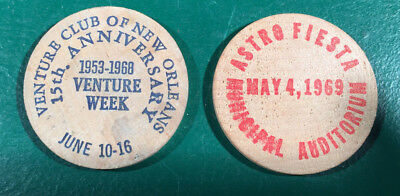 2 Vintage New Orleans Wooden Nickels
