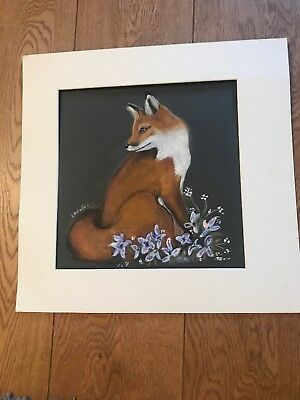Original Artwork. Fox. Mixed Media On Grey Mountboard