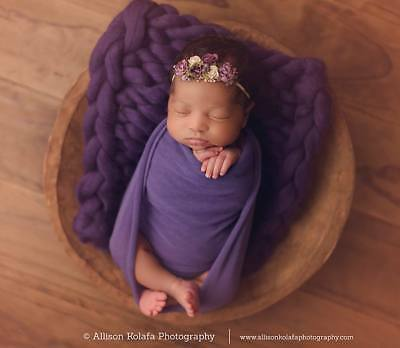 Chunky Baby Purple Merino Blanket Newborn Photography Prop Baby Basket