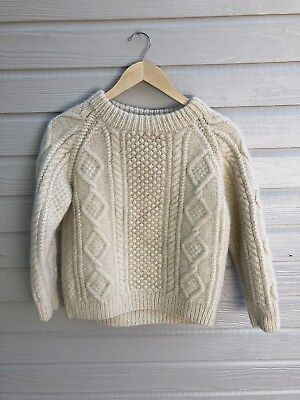 Vintage Hand Knit Aran 100% Wool Child Youth Sweater