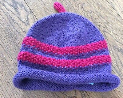 Cute Hand knit Purple Hat With Beanie Detail Approx 6-12 M  Stalk Ex Condition