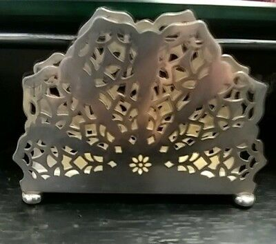 """VINTAGE FINNISH 813H STERLING SILVER NAPKIN HOLDER RETICULATED 4 3/4 X 3 X1"""" 94g"""