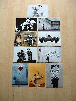 BANKSY### NEW SET OF TEN  ARTWORK POSTCARD SIZE PHOTO  PRINTS £3.99 NOT CANVAS.