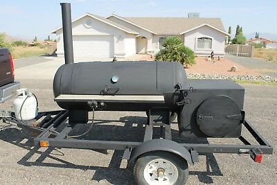 "BBQ Grill AND Smoker Cooker Combo on 11' 6""  Tow-able Trailer"